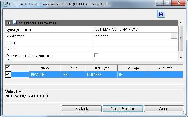 Creating metadata select synonym candidates step 3 dialog box m4hsunfo